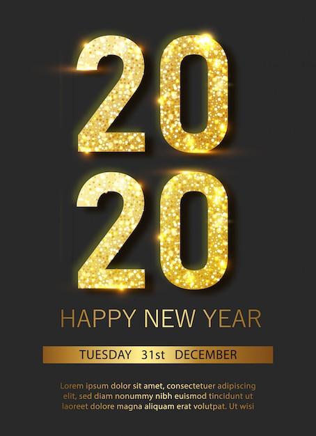 Zestaw Plakatów świątecznych I Noworocznych Ze Wiszącymi Złotymi I Srebrnymi Bombkami 3d Oraz Cyframi 2020. Premium Wektorów