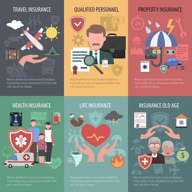 Zestaw plakatów ubezpieczeniowych Darmowych Wektorów