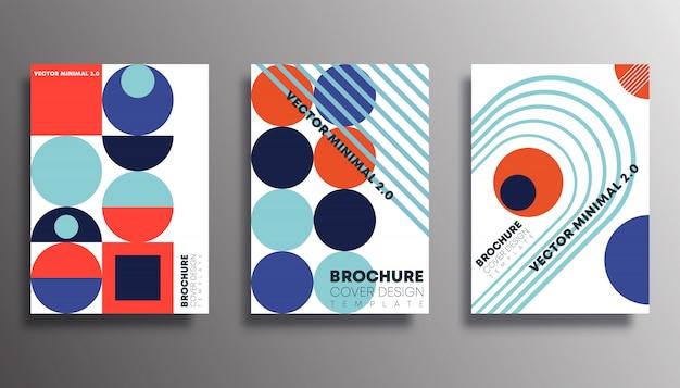 Zestaw Plakatów W Stylu Retro Geometryczne Kształty Premium Wektorów