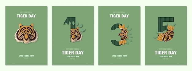 Zestaw plakatu na międzynarodowy dzień tygrysa, 29 lipca z numerem. Premium Wektorów