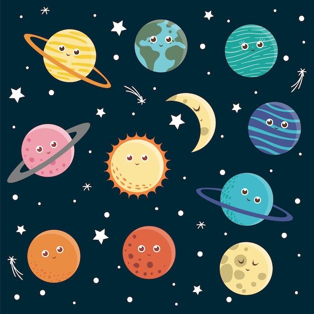 Zestaw Planet Dla Dzieci. Jasna I śliczna Płaska Ilustracja Uśmiechnięta Ziemia, Słońce, Księżyc, Wenus, Mars, Jowisz, Merkury, Saturn, Neptun Na Ciemnym Niebieskim Tle. Zdjęcie Kosmiczne Dla Dzieci. Premium Wektorów