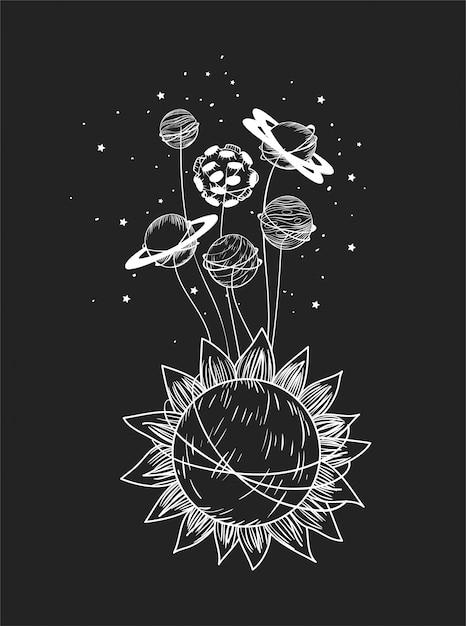 Zestaw Planet I Słońca Darmowych Wektorów