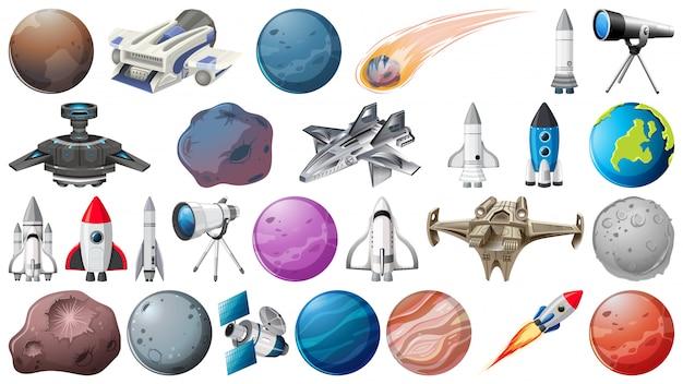 Zestaw planet, rakiet i obiektów kosmicznych Darmowych Wektorów