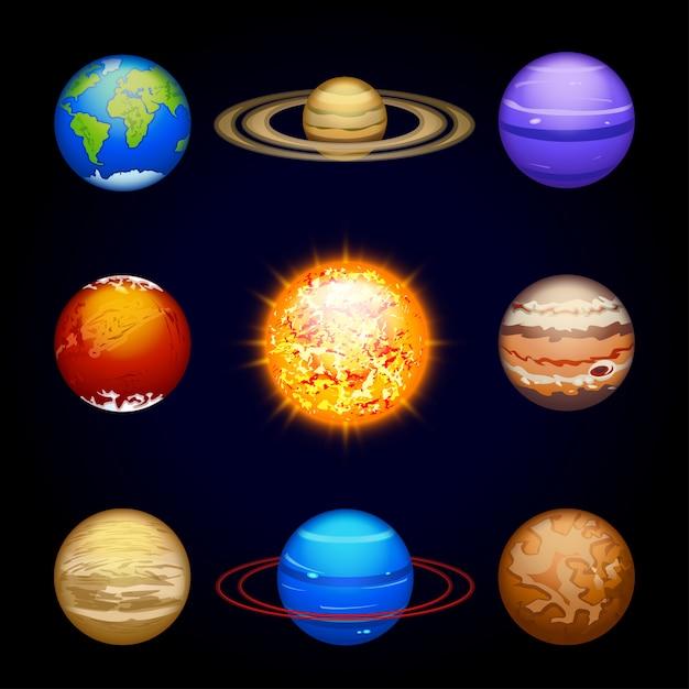 Zestaw Planet Premium Wektorów
