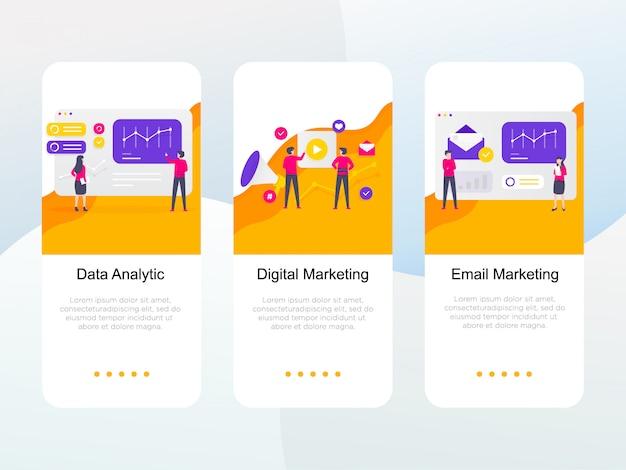 Zestaw płaski cyfrowy marketing na ekranie pokładowym Premium Wektorów
