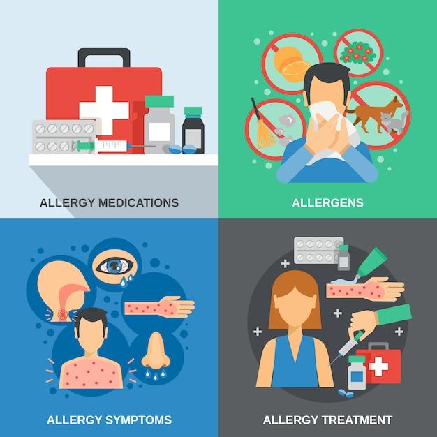 Zestaw Płaski Dla Alergików Darmowych Wektorów