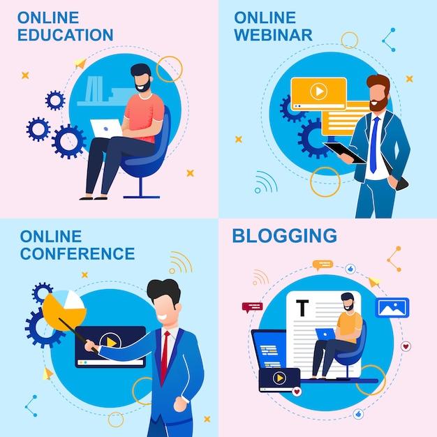 Zestaw płaski napis online edukacja, blogi. Premium Wektorów