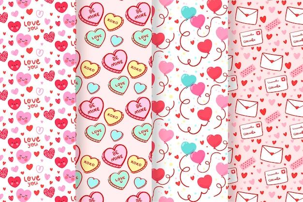 Zestaw Płaski Piękny Wzór Walentynki Darmowych Wektorów