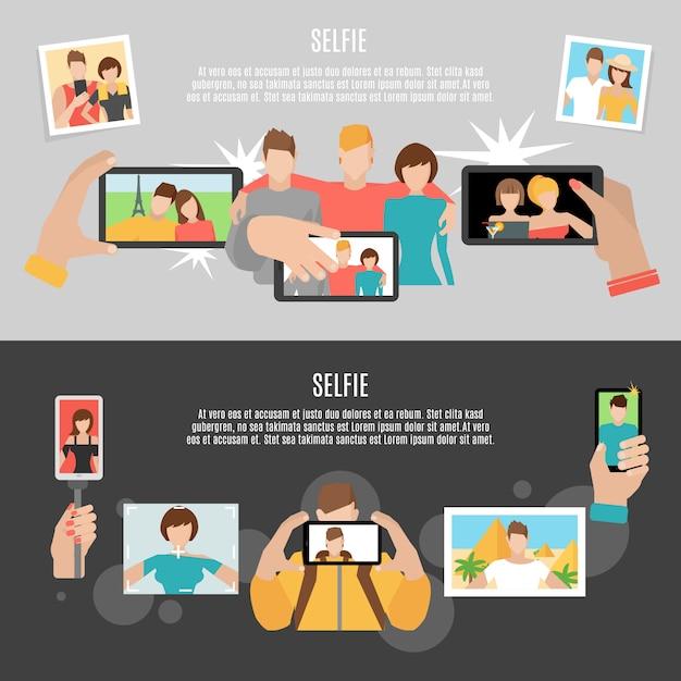 Zestaw płaskich banerów płaskich selfie 2 Darmowych Wektorów