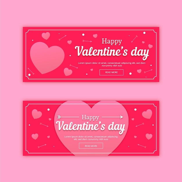 Zestaw Płaskich Banerów Walentynkowych Darmowych Wektorów