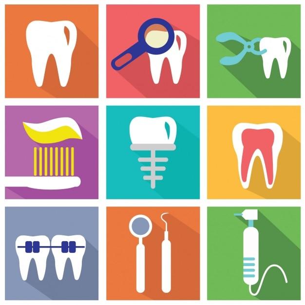 Zestaw Płaskich Elementów O Dentystów Darmowych Wektorów