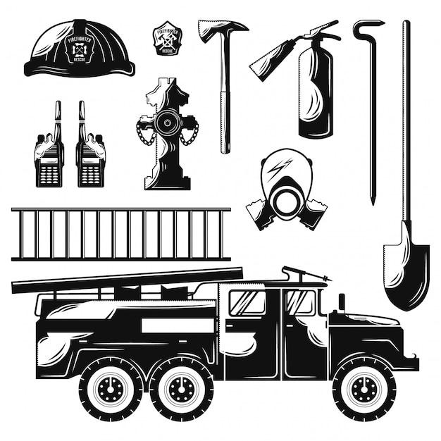 Zestaw Płaskich Elementów Strażaka Premium Wektorów