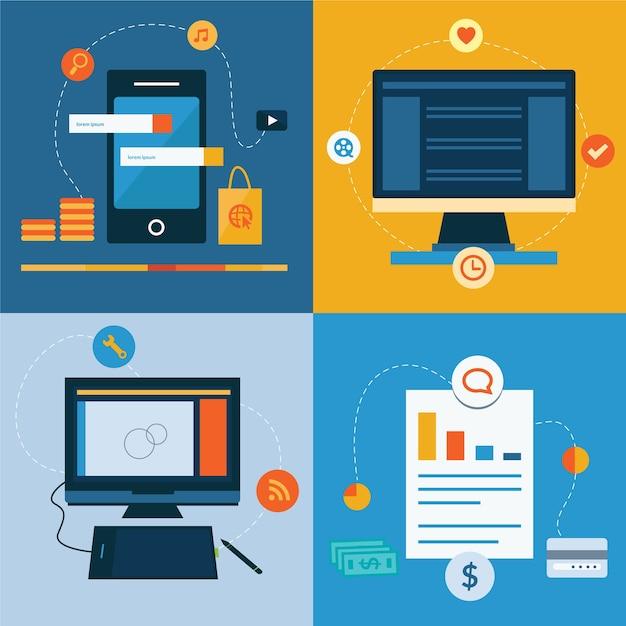 Zestaw Płaskich Ikon Koncepcji Projektowania Usług Internetowych I Mobilnych Premium Wektorów