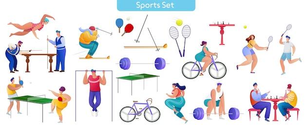 Zestaw Płaskich Ilustracji Sportu Premium Wektorów