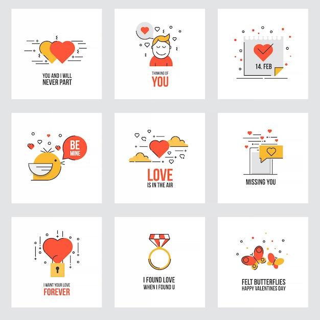 Zestaw Płaskich Kart Walentynki Premium Wektorów