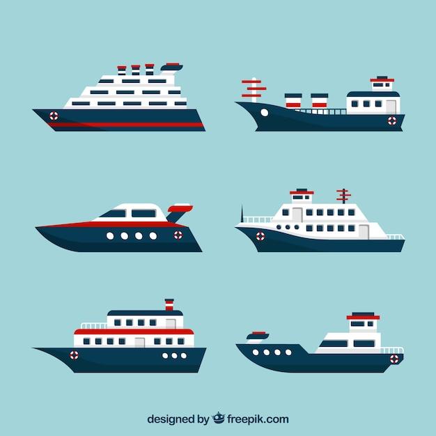 Zestaw Płaskich łodzi Z Czerwonymi Elementami Darmowych Wektorów
