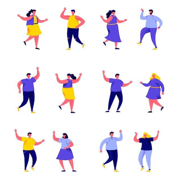 Zestaw płaskich ludzi tańczących w klubie lub postaci koncertowych muzyki Premium Wektorów