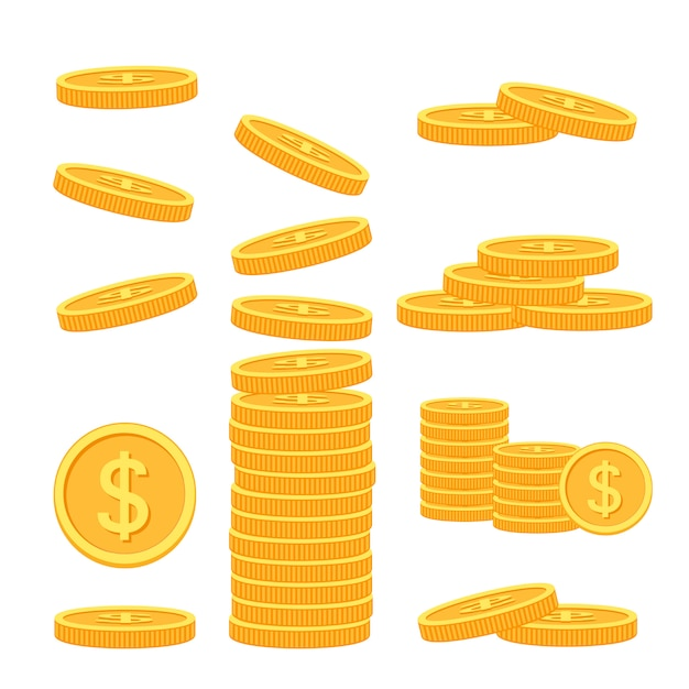 Zestaw Płaskich Monet Na Kolorowym Tle Premium Wektorów