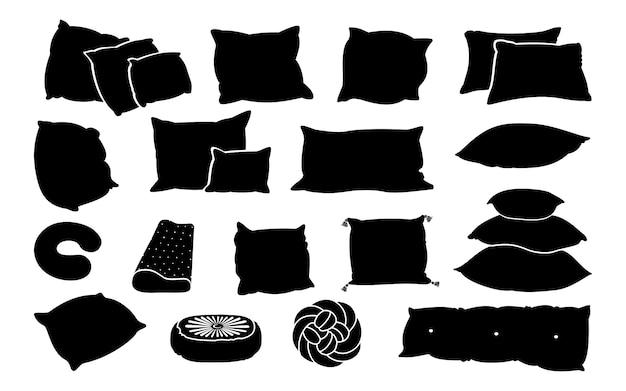 Zestaw Płaskich Poduszek Glifów Czarny. Monochromatyczne Lite Kształty Poduszki. Kontur Poduszek Do Spania Premium Wektorów
