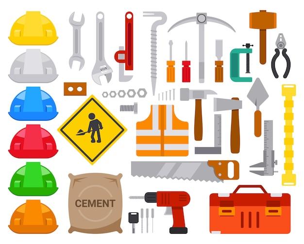 Zestaw Płaskich Pracowników Narzędzia Element Projektu Wektor Premium Wektorów