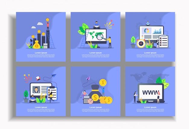 Zestaw płaskiego szablonu, łatwy do edycji i dostosowania Premium Wektorów