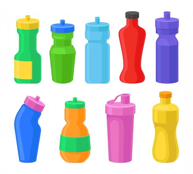 Zestaw Plastikowych Butelek Wielokrotnego Użytku, Koorotne Butelki Napoju Dla Fitness, Wytrząsarki Proteinowe Ilustracje Na Białym Tle Premium Wektorów