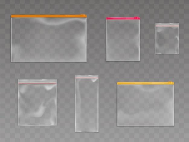 Zestaw plastikowych toreb na zamek błyskawiczny Darmowych Wektorów