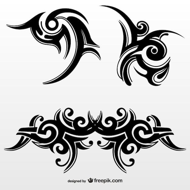 Zestaw plemiennych tatuaży abstrakcyjnych Darmowych Wektorów