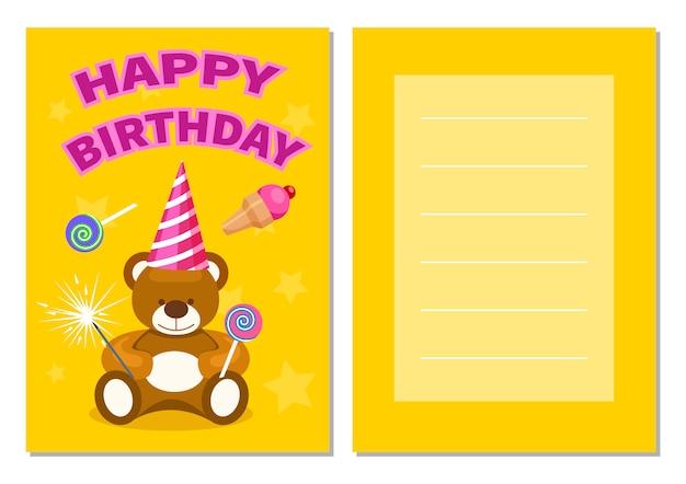 Zestaw pocztówek dla dzieci z okazji urodzin Premium Wektorów