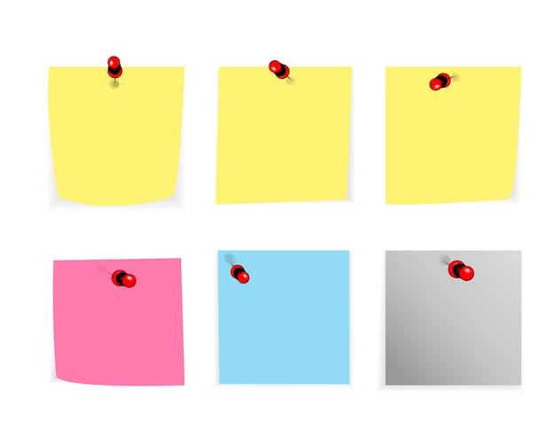 Zestaw Podarte Notatki, Papier Ziarnisty Notatnik Na Białym Tle Premium Wektorów
