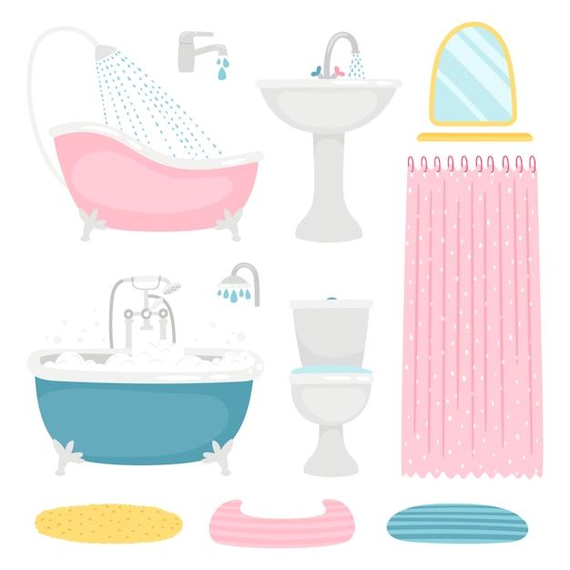 Zestaw Podstawowych Elementów łazienkowych Premium Wektorów