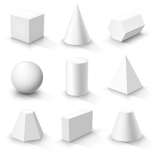 Zestaw Podstawowych Kształtów 3d. Białe Geometryczne Bryły Premium Wektorów