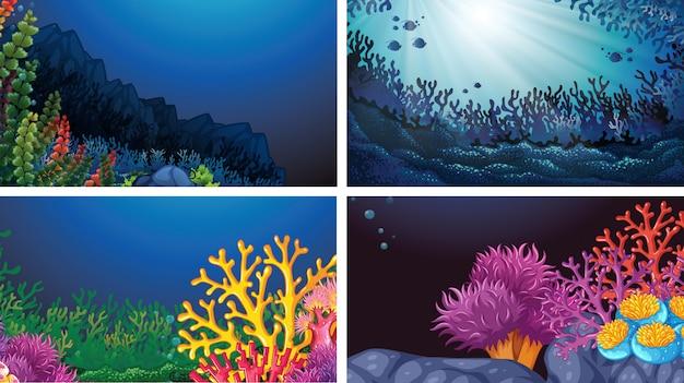 Zestaw Podwodnego Krajobrazu Tła Darmowych Wektorów