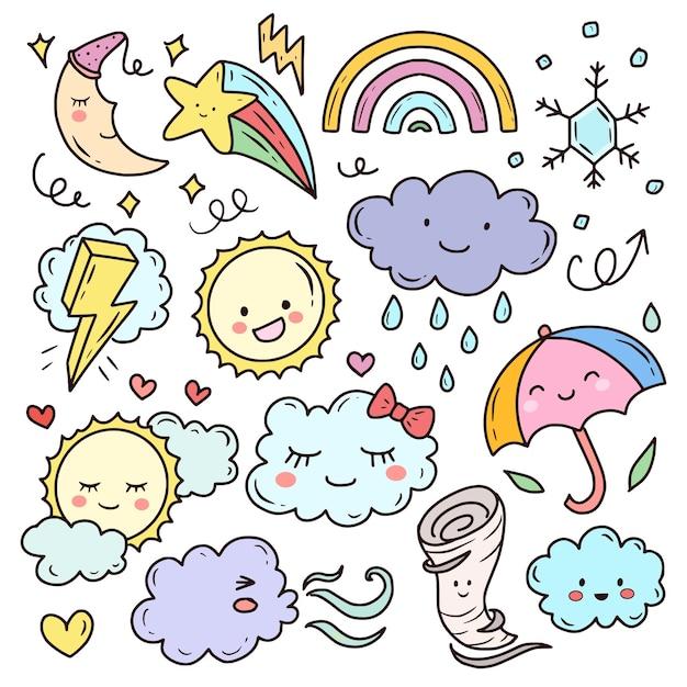 Zestaw Pogodowych ślicznych Doodles Kawaii Premium Wektorów
