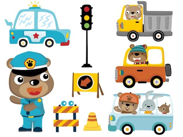 Zestaw Pojazdów Z Zabawnymi Kreskówkami Zwierząt Premium Wektorów