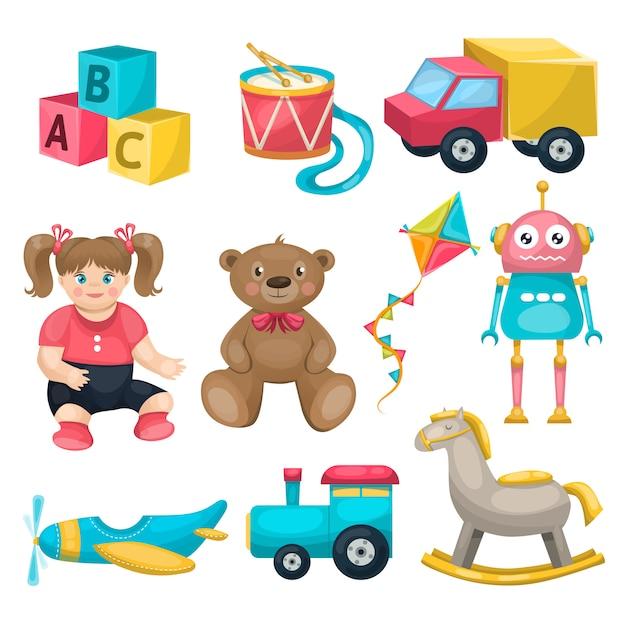 Zestaw Pojedynczych Zabawek Dla Dzieci Darmowych Wektorów