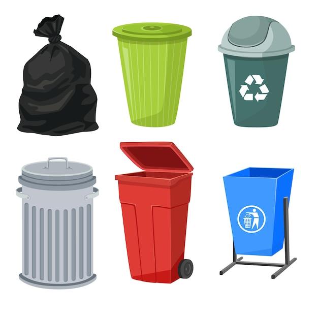 Zestaw Pojemników Na śmieci Premium Wektorów
