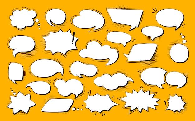 Zestaw Pop-artu, Komiks Dymek. Retro Puste Elementy Projektu Okno Dialogowe Chmury Półtonów Kropka Tło Premium Wektorów