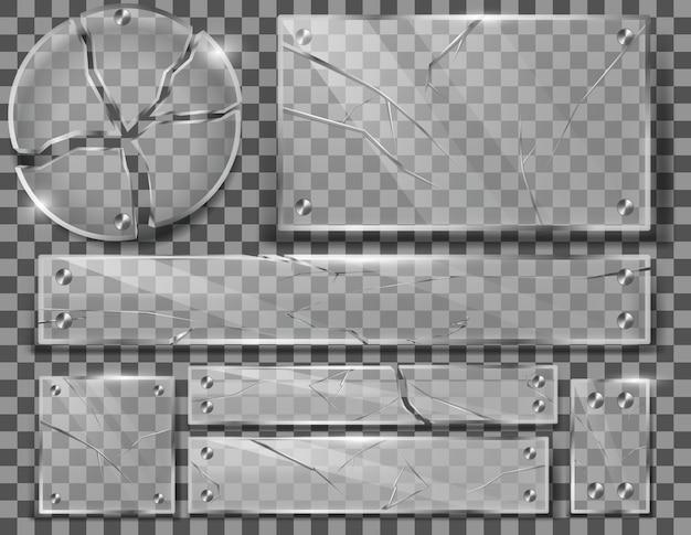 Zestaw Popękanych Przezroczystych Szklanych Płyt Z Pęknięciami, Roztrzaskanymi Panelami Z Ostrymi Odłamkami Darmowych Wektorów