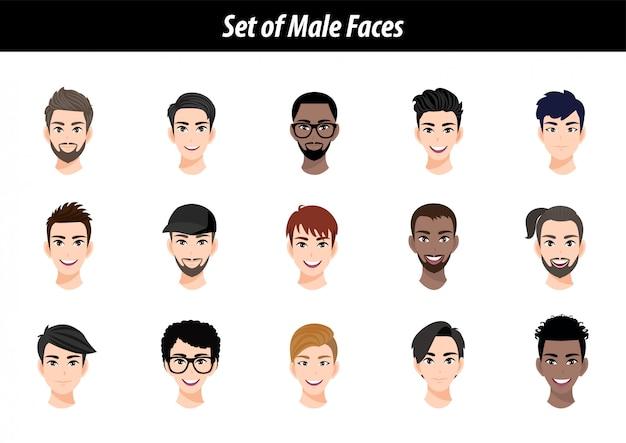 Zestaw Portretów Avatar Męskiej Twarzy Na Białym Tle. Międzynarodowi Mężczyzna Ludzie Przewodzą Płaską Wektorową Ilustrację. Premium Wektorów