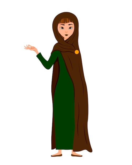 Zestaw Postaci Kobiecych. Dziewczyna Wskazuje Na Prawą Rękę Z Boku. Ilustracja. Premium Wektorów