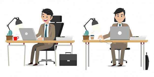 Zestaw Postaci Z Kreskówek Biznesmena Premium Wektorów