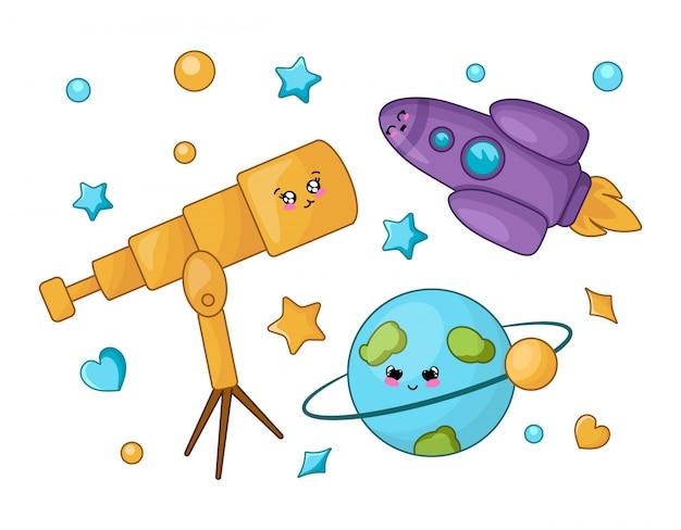 Zestaw postaci z kreskówek kawaii - teleskop, planeta, rakieta, gwiazda. powrót do koncepcji szkoły Premium Wektorów