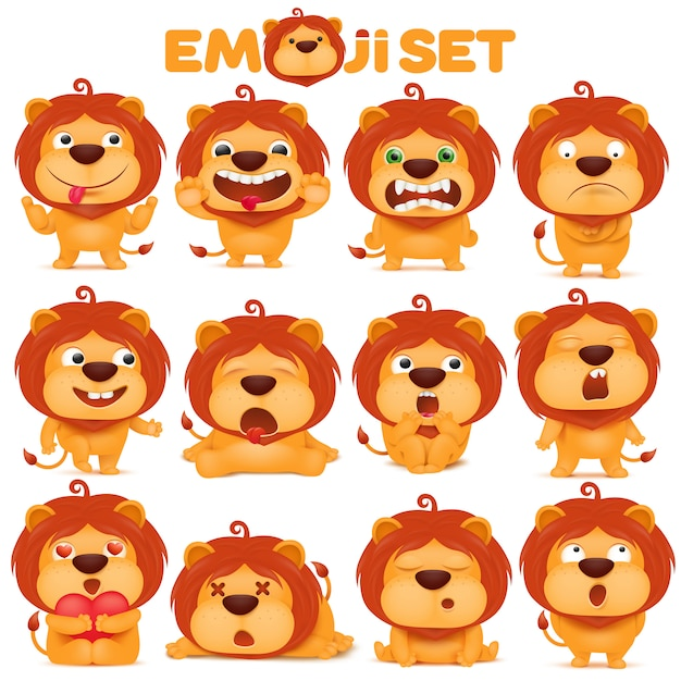 Zestaw Postaci Z Kreskówek Kot Lew Emoji Premium Wektorów