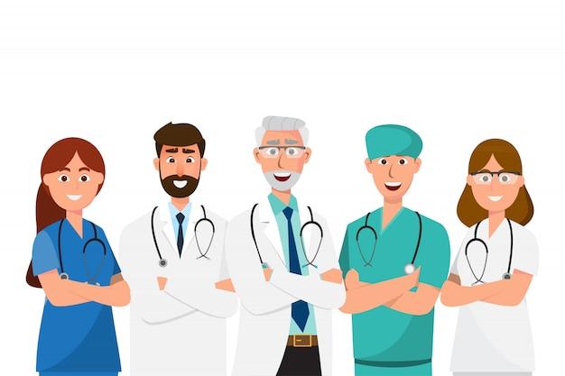 Zestaw postaci z kreskówek lekarz, personel medyczny zespół koncepcji w szpitalu Premium Wektorów
