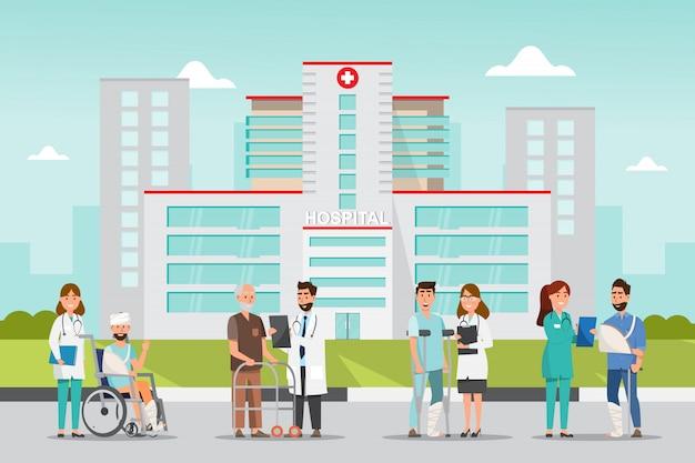Zestaw postaci z kreskówek lekarza i pacjenta. Premium Wektorów