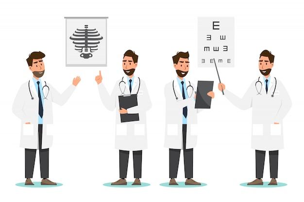Zestaw postaci z kreskówek lekarza. koncepcja zespołu personelu medycznego w szpitalu Premium Wektorów