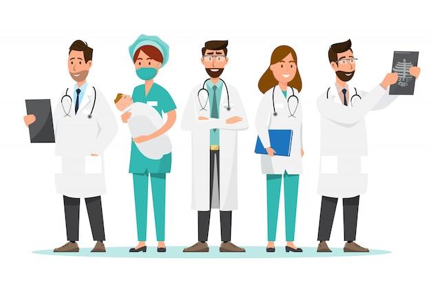 Zestaw postaci z kreskówek lekarza. koncepcja zespołu personelu medycznego Premium Wektorów