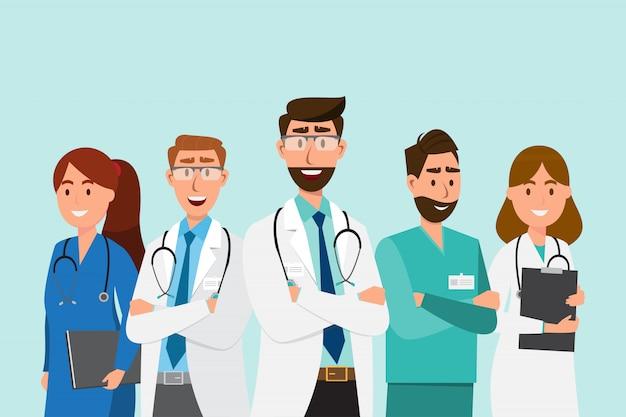 Zestaw postaci z kreskówek lekarza Premium Wektorów