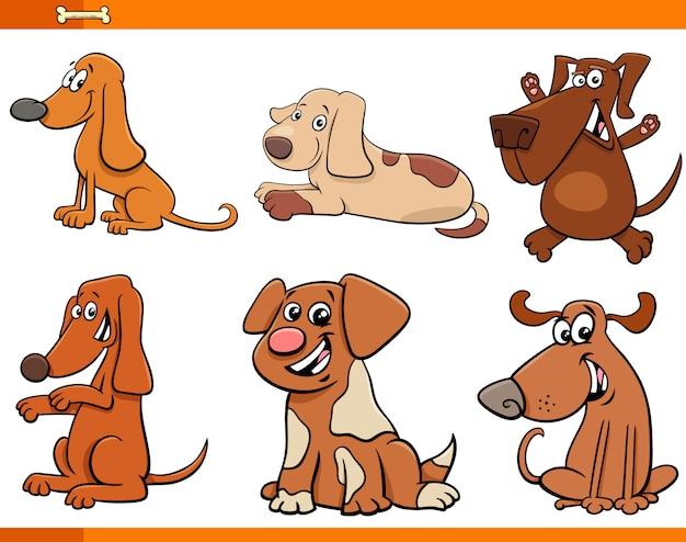 Zestaw postaci z kreskówek psy i szczenięta Premium Wektorów